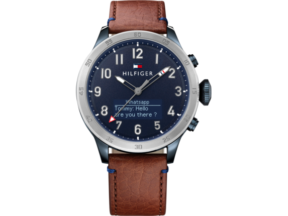 Tommy Hilfiger TH24/7 Smart Watch - Stainless Navy Brown Strap - Right