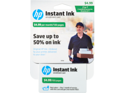 HP Instant Ink Enrollment Card - 100 page plan