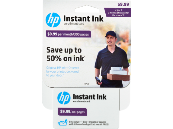 HP Instant Ink Enrollment Card - 300 page plan - Center