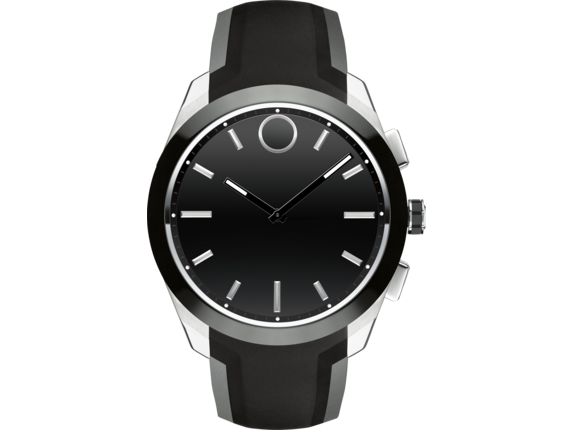Movado Bold Connected II - Steel/Black Strap - Center