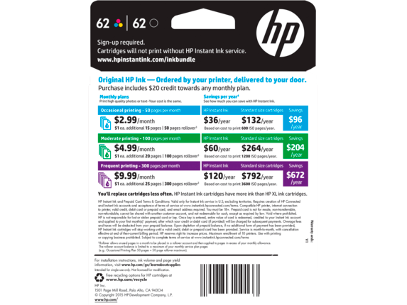 HP 62 Black Tri Color INSTANT INK Enrollment Kit