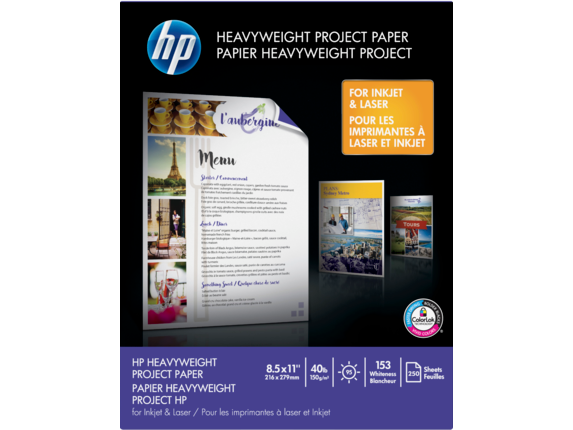 HP 40-lb Heavyweight Project Paper/250 sht/Letter/8.5 x 11 in - Center