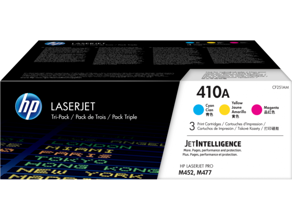 HP 410A 3-pack Cyan/Magenta/Yellow Original LaserJet Toner Cartridges
