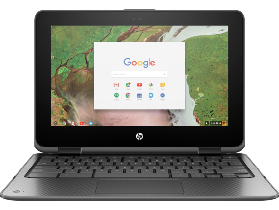 "HP Chromebook x360 11"" Laptop, Mini Speaker + Mouse Bundle - Left"