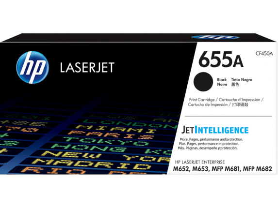 HP 655A Black Original LaserJet Toner Cartridge, CF450A