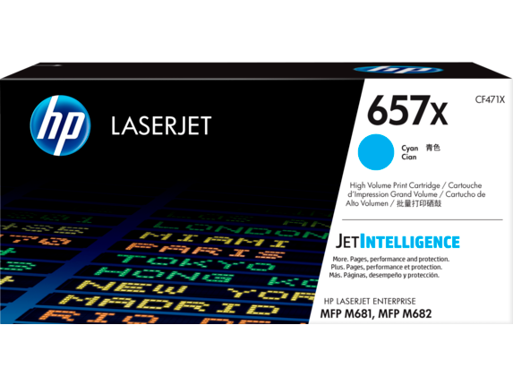 HP 657X High Yield Cyan Original LaserJet Toner Cartridge, CF471X - Center