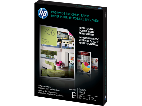 HP PageWide Glossy Brochure Paper-200 sht/Letter/8.5 x 11 in - Left
