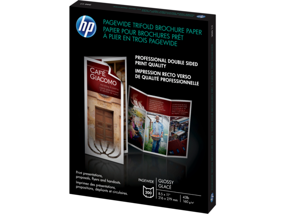 HP PageWide Glossy Trifold Brochure Paper-200 sht/Letter/8.5 x 11 in - Left