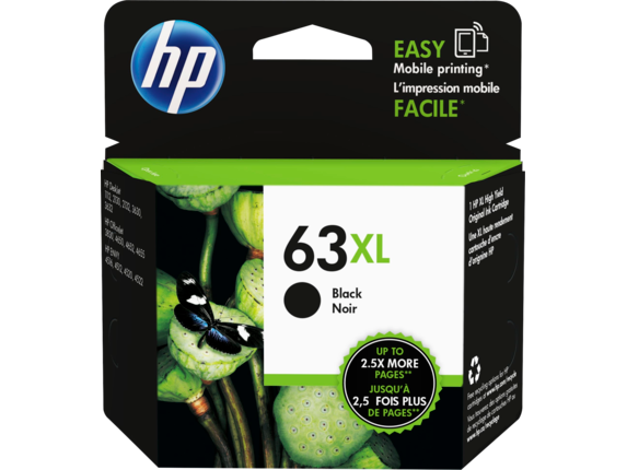 HP 63XL/63 High Yield Black and Standard Tricolor Ink Cartridge Bundle - Left