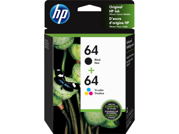 HP 64 2-pack Black/Tri-color Original Ink Cartridges