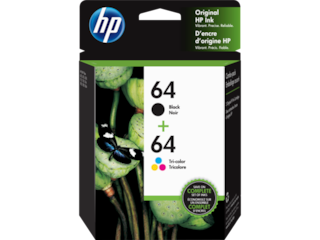 HP 64 2-pack Black/Tri-color Original Ink Cartridges, X4D92AN#140