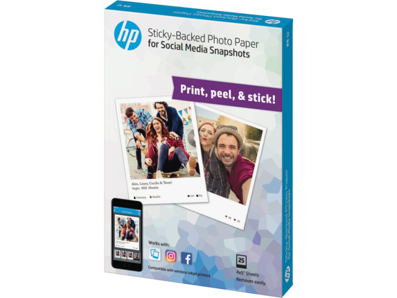HP Social Media Snapshots Removable Sticky Photo Paper-25 sht/4 x 5 in - Left