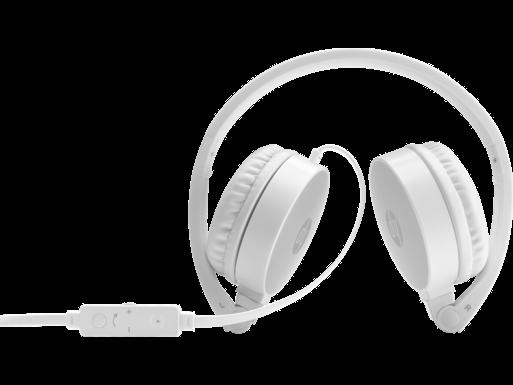HP  H2800 -stereokuulokkeet (valkoinen ja kirkkaanhopea)