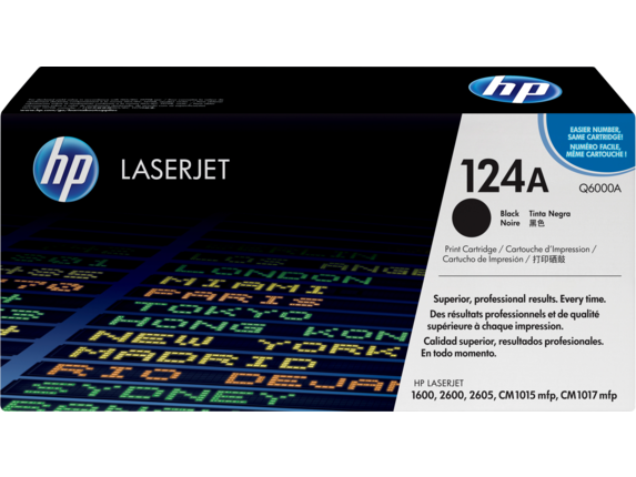 HP 124A Black Original LaserJet Toner Cartridge, Q6000A