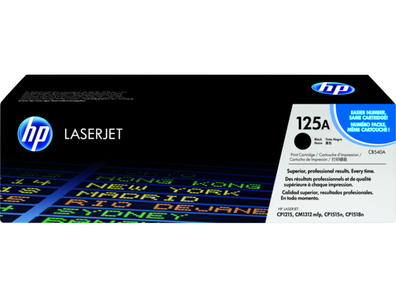 HP 125A Black Original LaserJet Toner Cartridge, CB540A - Center