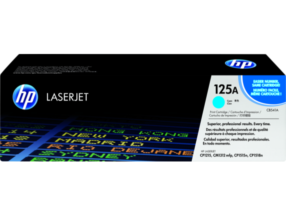 HP 125A Cyan Original LaserJet Toner Cartridge, CB541A