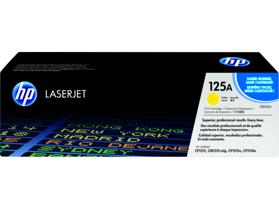 HP 125A Yellow Original LaserJet Toner Cartridge, CB542A