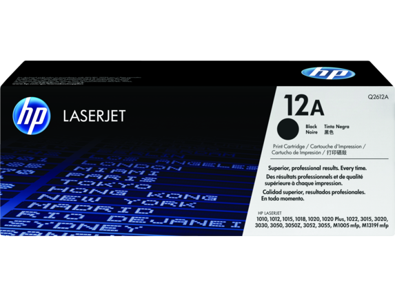 HP 12A Black Original LaserJet Toner Cartridge, Q2612A