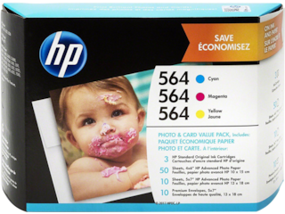 HP 564 Photo and Card Value Pack-50 sht/4 x 6 in and 10 sht/5 x 7 in, J2X80AN#140