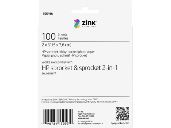 HP Sprocket Photo Paper-100 sticky-backed sheets/2 x 3 in - Rear