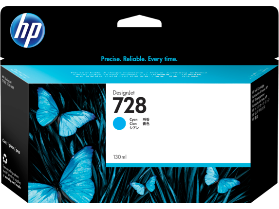HP 728 130-ml Cyan DesignJet Ink Cartridge