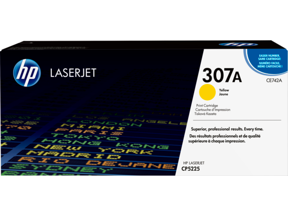 HP 307A Yellow Original LaserJet Toner Cartridge, CE742A