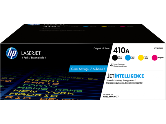HP 410A 4-pack Black/Cyan/Magenta/Yellow Original LaserJet Toner Cartridges