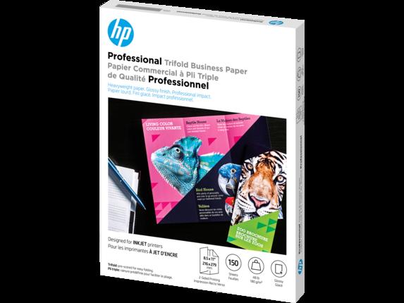 HP Inkjet Glossy Tri-fold Brochure Paper 180 gsm-150 sht/Letter/8.5 x 11 in - Left
