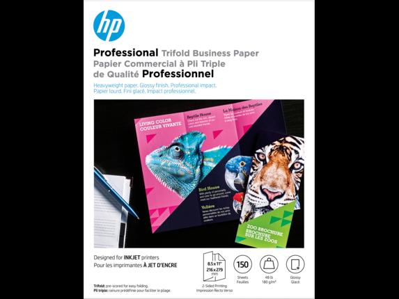 HP Inkjet Glossy Tri-fold Brochure Paper 180 gsm-150 sht/Letter/8.5 x 11 in - Center