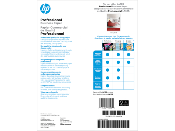 HP Laser Matte Brochure Paper 200 gsm-150 sht/Letter/8.5 x 11 in - Rear