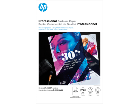 HP Inkjet Glossy Brochure Paper 180 gsm-150 sht/Tabloid/11 x 17 in