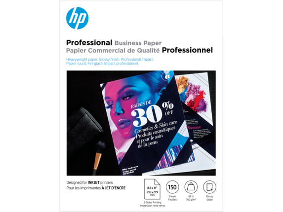 HP Professional Multi-use Glossy FSC Paper 180 gsm-150 sht/Letter/8.5 x 11 in - Center