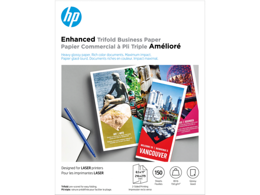 HP Enhanced Laser Glossy Tri-fold FSC Paper 150 gsm-150 sht/Letter/8.5 x 11 in