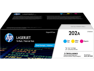 HP 202A 3-pack Cyan/Magenta/Yellow Original LaserJet Toner Cartridges, CF500AM