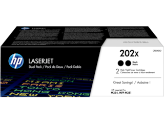 HP 202X 2-pack High Yield Black Original LaserJet Toner Cartridges, CF500XD