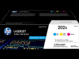 HP 202X 3-pack High Yield Cyan/Magenta/Yellow Original LaserJet Toner Cartridges, CF500XM