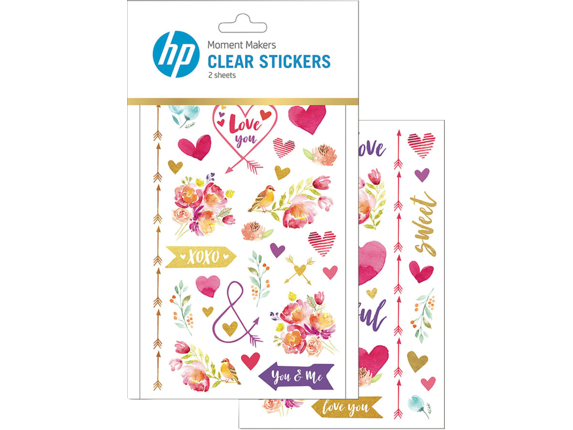 HP Moment Makers Clear Love Stickers, 6RW45A - Center