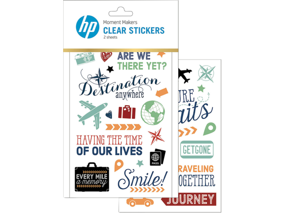 HP Moment Makers Clear Travel Stickers, 6RW46A - Center