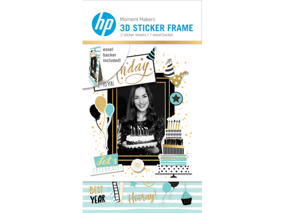 HP Moment Makers 2 x 3-in 3D Birthday Easel Frame, 6RW47A - Center