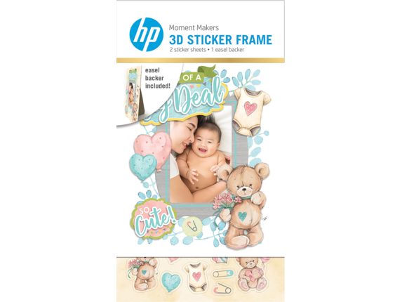 HP Moment Makers 2 x 3-in 3D Baby Easel Frame, 6ZU87A - Center