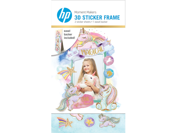 HP Moment Makers 2 x 3-in 3D Unicorn Easel Frame, 6ZU89A - Center