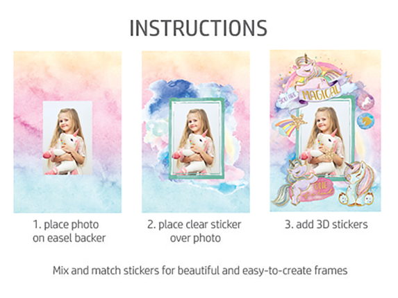 HP Moment Makers 2 x 3-in 3D Unicorn Easel Frame, 6ZU89A - Rear
