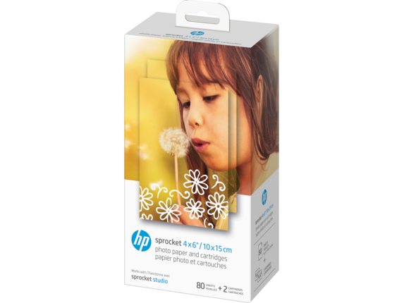 HP Sprocket 4 x 6 in (10 x 15 cm) Photo Paper and Cartridges-80 sheets - Left