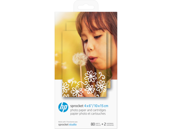HP Sprocket 4 x 6 in (10 x 15 cm) Photo Paper and Cartridges-80 sheets - Center