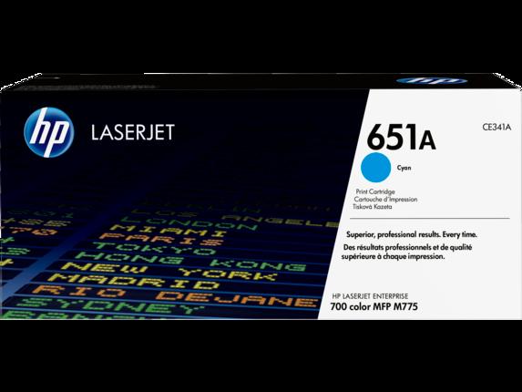 HP 651A Cyan Original LaserJet Toner Cartridge, CE341A
