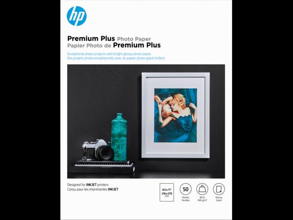 HP Premium Plus Glossy Photo Paper-50 sht/Letter/8.5 x 11 in, CR664A