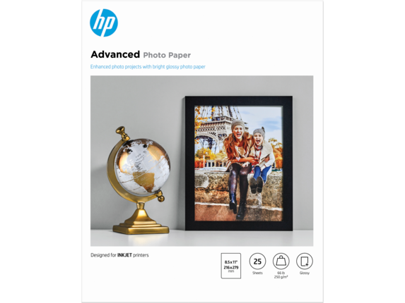 HP Advanced Glossy Photo Paper-25 sht/Letter/8.5 x 11 in