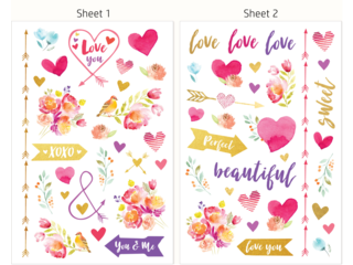 HP Moment Makers Clear Love Stickers, 6RW45A