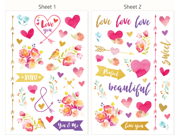 HP Moment Makers Clear Love Stickers, 6RW45A - Rear