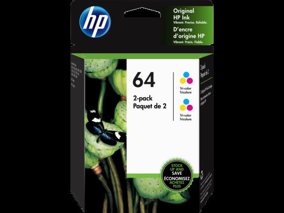 HP 64 2-pack Tri-color Original Ink Cartridges, 6ZA55AN#140